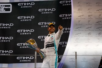 Lewis Hamilton, Mercedes AMG F1, 1st position and world Champion, on the podium