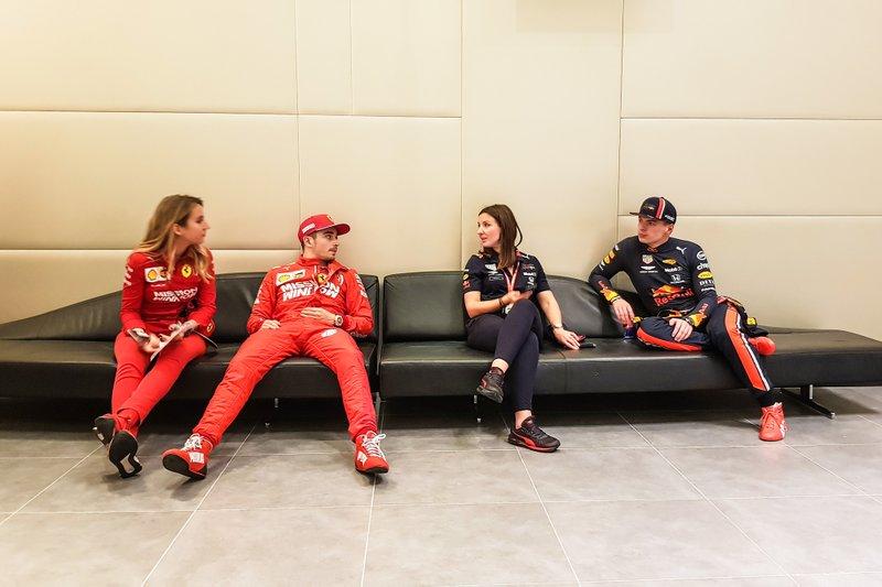 Charles Leclerc, Ferrari y Max Verstappen, Red Bull Racing