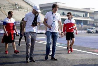 Jaguar I-Pace eTrophy drivers walk the track