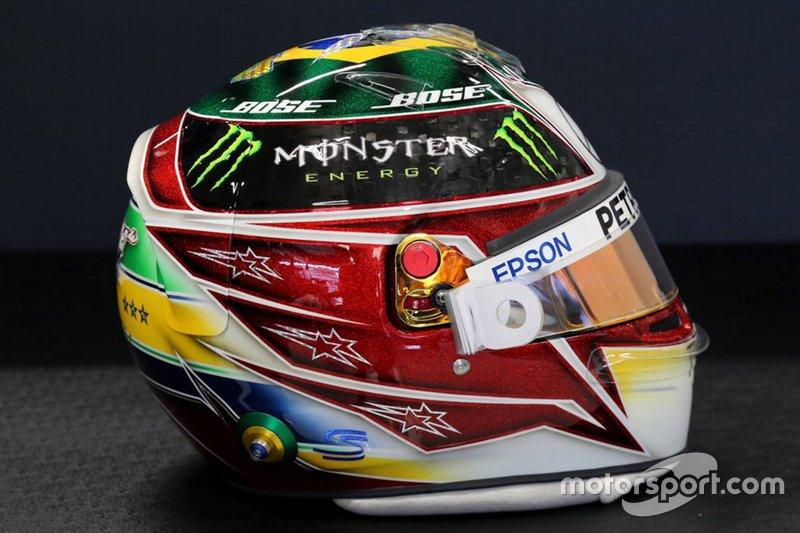 Capacete de Lewis Hamilton, Mercedes AMG F1, para o GP do Brasil de 2019