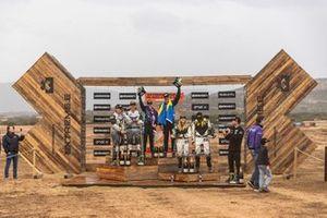 1st position, Molly Taylor, Johan Kristoffersson, Rosberg X Racing,, 2nd position, Jutta Kleinschmidt, Mattias Ekström, ABT CUPRA XE, 3rd position, Mikaela Ahlin-Kottulinsky, Kevin Hansen, JBXE Extreme-E Team