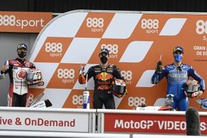 Polesitter Pol Espargaro, Red Bull KTM Factory Racing, second place Alex Rins, Team Suzuki MotoGP, third place Takaaki Nakagami, Team LCR Honda
