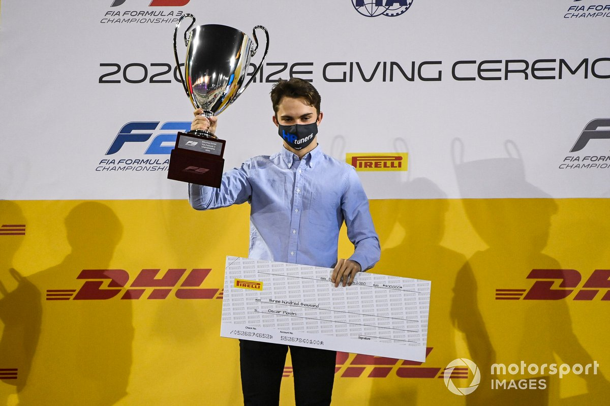 F3 Championship Winner Oscar Piastri, Prema Racing celebrates on the podium with the trophy