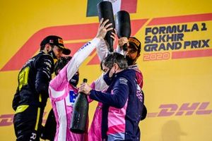 Esteban Ocon, Renault F1, Lance Stroll, Racing Point, Race Winner Sergio Perez, Racing Point and Andy Stevenson, Sporting Director, Racing Point celebrate on the podium with the champagne