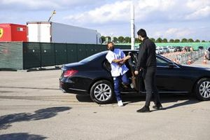 Lewis Hamilton, Mercedes-AMG F1 arrives at the track