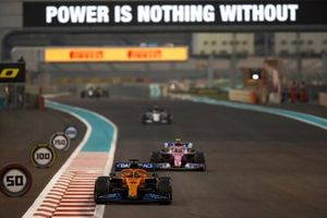 Carlos Sainz Jr., McLaren MCL35, Lance Stroll, Racing Point RP20