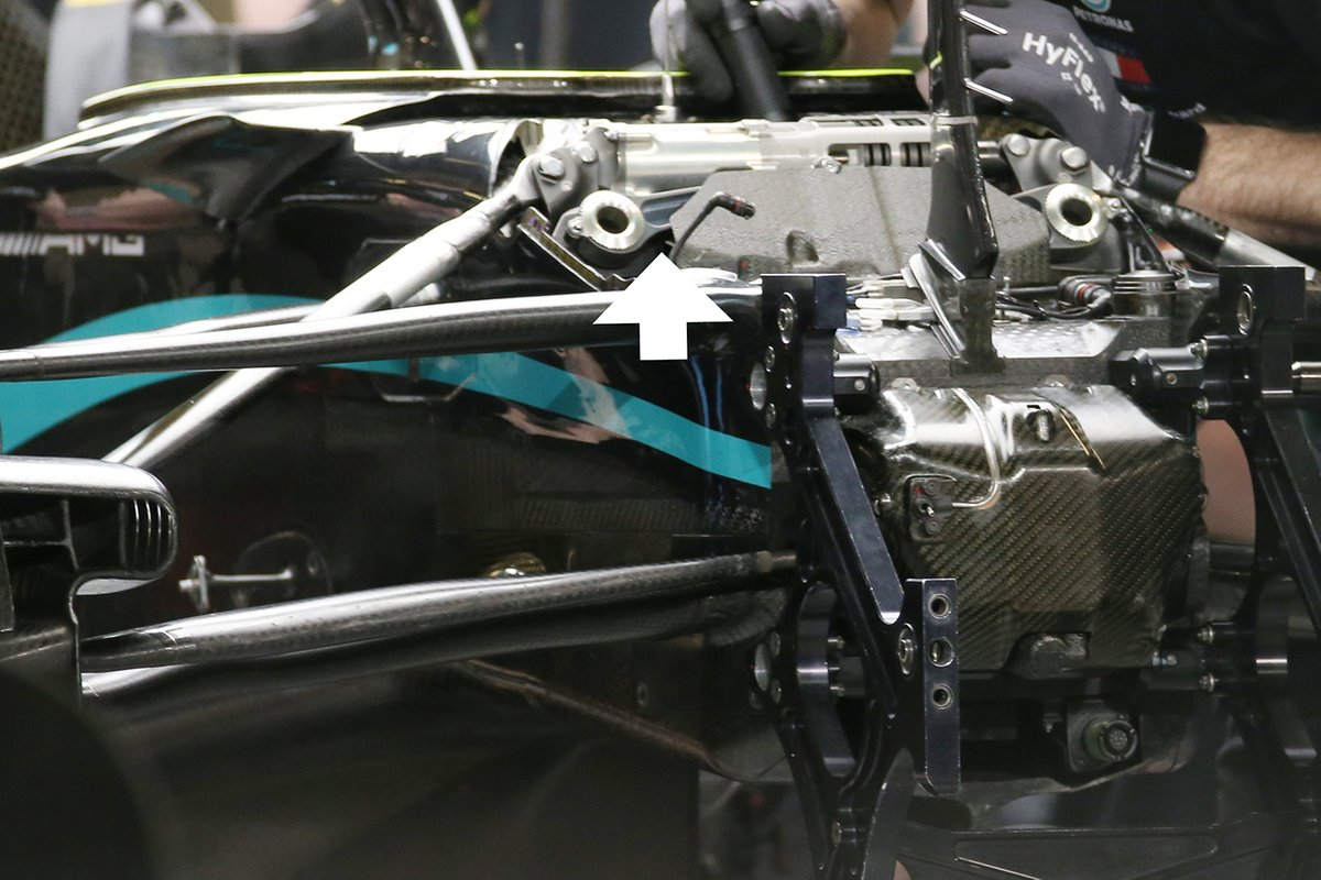 Detalle de la suspensión delantera del Mercedes W11