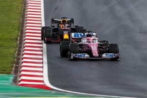 Sergio Perez, Racing Point RP20, leads, Max Verstappen, Red Bull Racing RB16