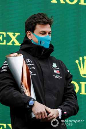 Toto Wolff, Executive Director (Business), Mercedes AMG, collects the Constructors trophy for Mercedes