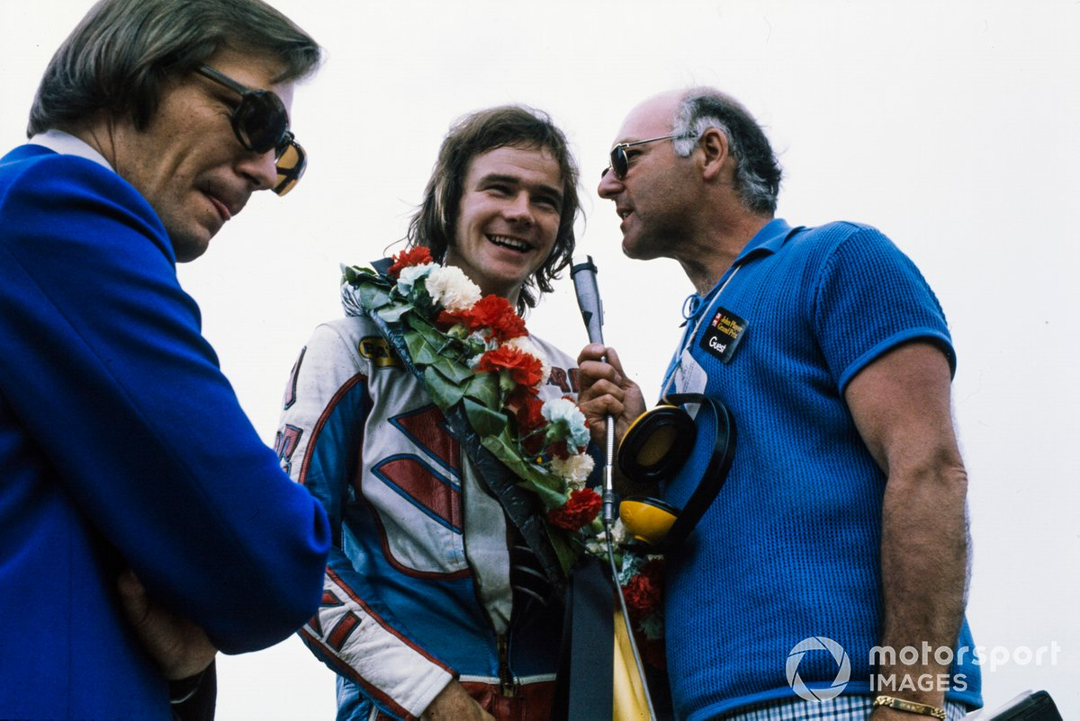Murray was best known for his F1 coverage, but was a passionate fan of motorcycle racing. He's pictured here interviewing Barry Sheene in 1975.