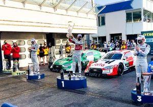 El campeón 2020, Rene Rast, Audi Sport Team Rosberg, Nico Muller, Audi Sport Team Abt Sportsline, Robin Frijns, Audi Sport Team Abt Sportsline