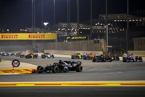 Lewis Hamilton, Mercedes F1 W11, Sergio Perez, Racing Point RP20, Valtteri Bottas, Mercedes F1 W11, and Alex Albon, Red Bull Racing RB16