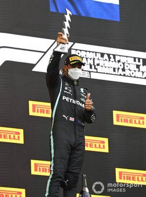 Lewis Hamilton, Mercedes on the podium celebrating coming second Emilia Romagna GP