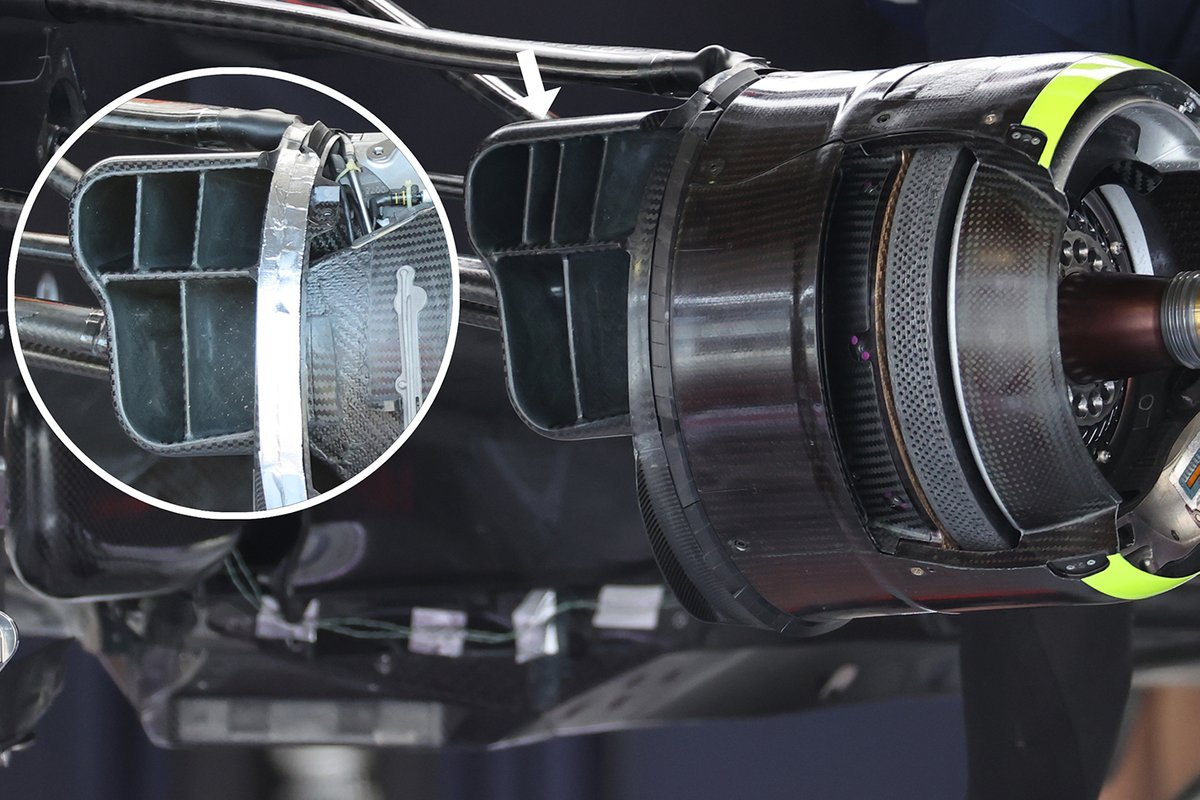 Detalle del conducto de freno del Red Bull Racing RB16B
