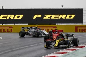 Esteban Ocon, Renault F1 Team R.S.20, Sebastian Vettel, Ferrari SF1000, and Pierre Gasly, AlphaTauri AT01