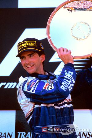 Podium: Race winner Damon Hill, Williams Renault