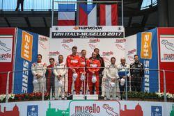 Podium overall: race winner #11 Scuderia Praha, Ferrari 488 GT3: Jiri Pisarik, Josef Král, Matteo Malucelli