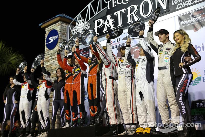 PC podium: winners James French, Kyle Mason, Patricio O'Ward, Performance Tech Motorsports, second p