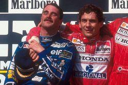 Podium: second place and world champion Nigel Mansell, Williams Renault, race winner Ayrton Senna, M