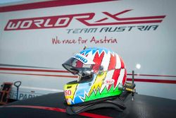 Helmet of Alexander Wurz during a World RX Team Austria Ford Fiesta test