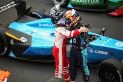 Sébastien Buemi, Renault e.Dams, celebrates with Nick Heidfeld, Mahindra Racing after winning the ra