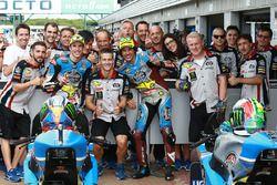 Il secondo qualificato Alex Marquez, Marc VDS, il terzo classificato Franco Morbidelli, Marc VDS