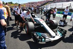 The car of Lewis Hamilton, Mercedes-Benz F1 W08 Hybrid on the grid