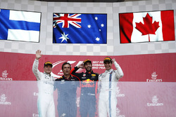 Daniel Ricciardo, Red Bull Racing, celebrates victory on the podium, Valtteri Bottas, Mercedes AMG F