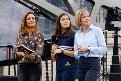 Tatiana Calderon, Development Driver, Sauber F1, on stage between Natalie Pinkham, Presenter, Sky Sports F1, Suzie Wolff, TV Pundit, Channel 4 F1