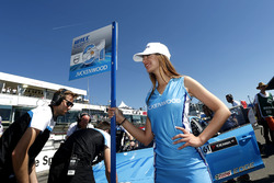 Grid girl of Nestor Girolami, Polestar Cyan Racing, Volvo S60 Polestar TC1