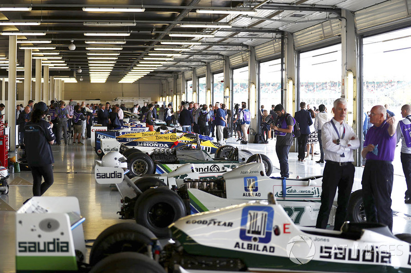A line-up of classic Williams F1 machinery