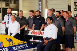 A group photo next to the Williams FW14B Renault with Dickie Stanford, Karun Chandhok