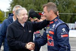 Jean Todt, président de la FIA, et Sebastien Loeb, Team Peugeot-Hansen, Peugeot 208 WRX