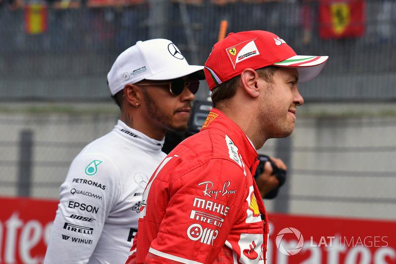 Lewis Hamilton, Mercedes AMG F1 ve Sebastian Vettel, Ferrari