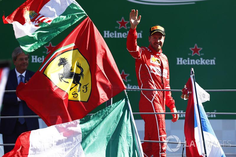 Podium: third place Sebastian Vettel, Ferrari SF70H