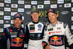 Podium: Winner Johan Kristoffersson, PSRX Volkswagen Sweden, VW Polo GTi, second place Sebastien Loeb, Team Peugeot-Hansen, Peugeot 208 WRX, third place Mattias Ekström, EKS, Audi S1 EKS RX Quattro