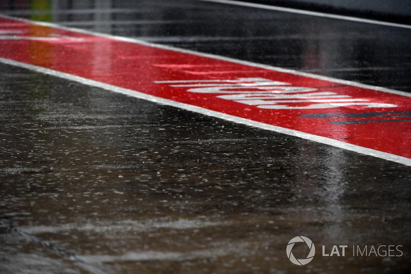 Rain and wet pit lane