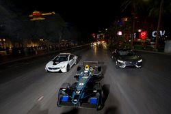 Sam Bird, DS Virgin Racing, leads Mitch Evans, Jaguar Racing in a I-Pace SUV concept car. Antonio Fe