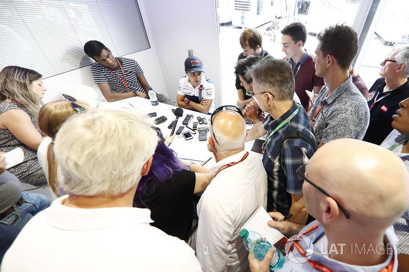 Felipe Massa, Williams, talks to reporters