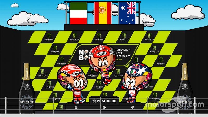 El podio del GP de la República Checa de MotoGP 2019, por MiniBikers