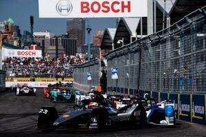 Sébastien Buemi, Nissan e.Dams, Nissan IMO1, Alexander Sims, BMW I Andretti Motorsports, BMW iFE.18, Daniel Abt, Audi Sport ABT Schaeffler, Audi e-tron FE05