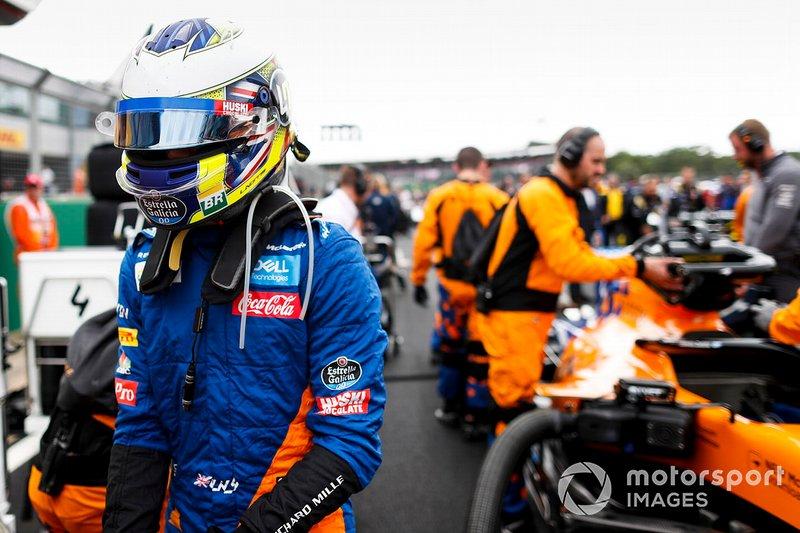 Lando Norris, McLaren, in griglia di partenza