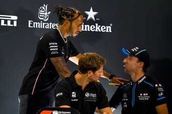 Lewis Hamilton, Mercedes AMG F1, Romain Grosjean, Haas F1 and Robert Kubica, Williams Racing in the Press Conference