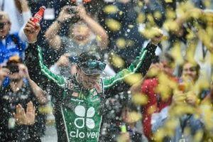 Kyle Larson, Chip Ganassi Racing, Chevrolet Camaro Clover, celebrates after winning.