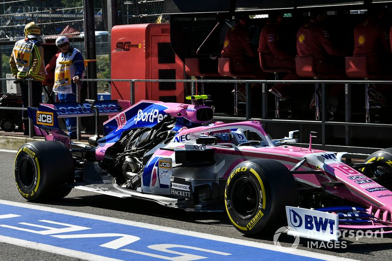 Lance Stroll, Racing Point RP19 sin la cubierta motor