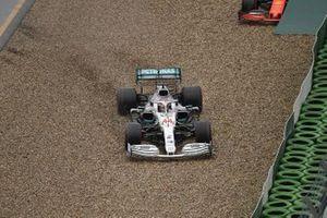 Lewis Hamilton, Mercedes AMG F1 W10, heads through the gravel