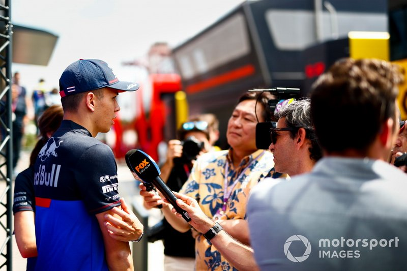 Alexander Albon, Toro Rosso speaks to the media