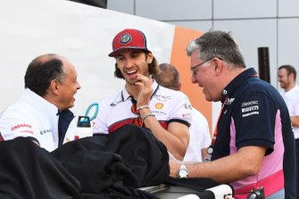 Frederic Vasseur, Team Principal, Alfa Romeo Racing, talks with Antonio Giovinazzi, Alfa Romeo Racing, and Otmar Szafnauer, Team Principal and CEO, Racing Point, in the paddock