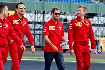 Sebastian Vettel, Ferrari walks the track with his team