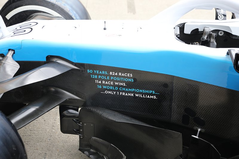 Message for Frank Williams on the side of the Williams FW42